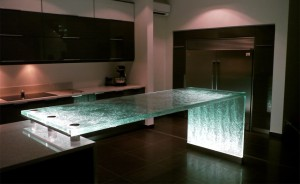 Unique Countertop Materials - think glass counter